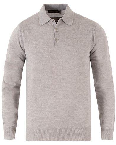Morris Heritage Long Sleeve Polo Shirt Grey i gruppen Klær / Gensere / Pullover / Pullovere med knapper i kragen hos Care of Carl (12636511r)