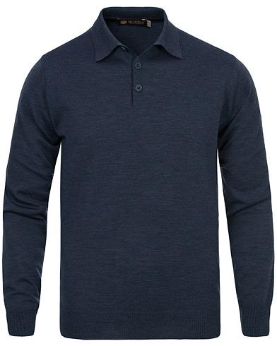 Morris Heritage Long Sleeve Polo Shirt Navy i gruppen Kläder / Tröjor / Pullovers / V-ringade pullovers hos Care of Carl (12636611r)