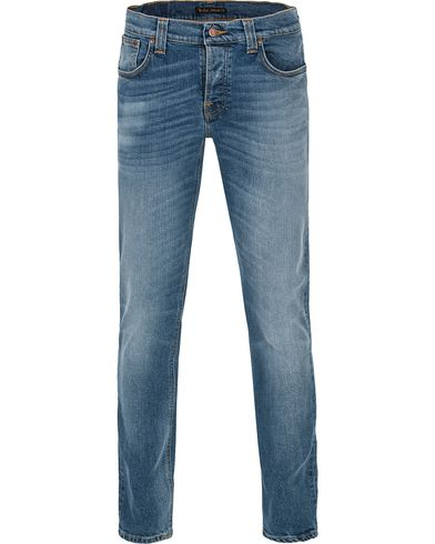 Nudie Jeans Grim Tim Organic Slim Fit Stretch Jeans Coast Blues i gruppen Jeans / Smale jeans hos Care of Carl (12656811r)