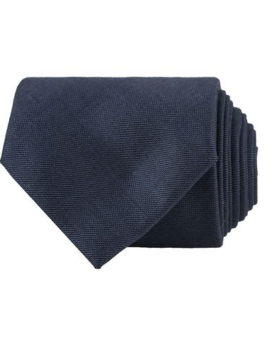 Oscar Jacobson Wool Roll Edge Tipping 8 cm Tie Navy  i gruppen Accessoarer / Slipsar hos Care of Carl (12661810)