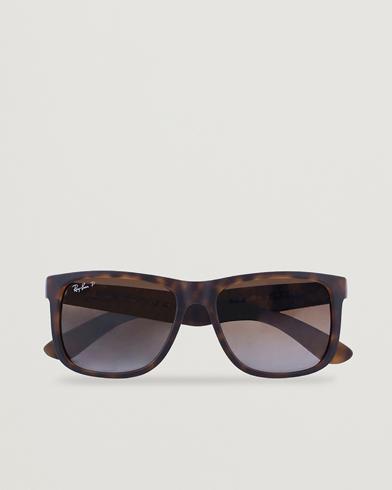 Ray-Ban 0RB4165 Justin Polarized Wayfarer Sunglasses Havana/Brown  i gruppen Solbriller / Buede solbriller hos Care of Carl (12668110)