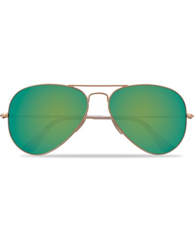 Ray-Ban 0RB3025 Aviator Sunglasses Matte Gold/Green Mirror  i gruppen Accessoarer / Solglasögon / Pilotsolglasögon hos Care of Carl (12668710)