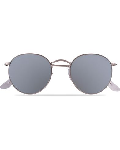Ray-Ban 0RB3447 Round Sunglasses Matte Silver/Silver Mirror   i gruppen Solbriller hos Care of Carl (12669010)