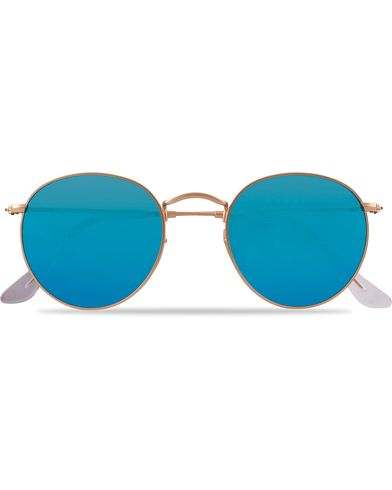 Ray-Ban 0RB3447 Polarized Round Sunglasses Matte Gold/Blue Mirror  i gruppen Solglasögon / Runda solglasögon hos Care of Carl (12669310)