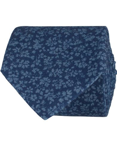 Eton Cotton Flower Tie 7 cm Blue  i gruppen Accessoarer / Slipsar hos Care of Carl (12675110)