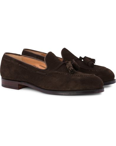 Crockett & Jones Cavendish Tassel Loafer Dark Brown Suede i gruppen Skor / Loafers hos Care of Carl (12680311r)