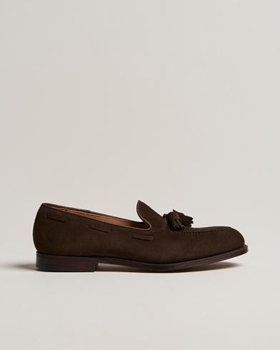 Crockett & Jones Cavendish Tassel Loafer Dark Brown Suede i gruppen Sko / Loafers hos Care of Carl (12680311r)