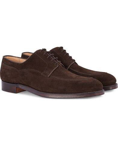 Crockett & Jones MTO Langdon Split Toe Derby Dark Brown Suede i gruppen Sko / Derbys hos Care of Carl (12681411r)