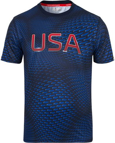 Polo Sport Ralph Lauren Performance USA Microdot Print Tee French Navy i gruppen T-Shirts / Kortermede t-shirts hos Care of Carl (12684111r)