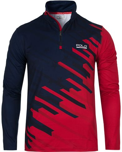 Polo Sport Ralph Lauren Performance Half Zip Tee Red/Navy i gruppen Tröjor / Zip-tröjor hos Care of Carl (12684711r)