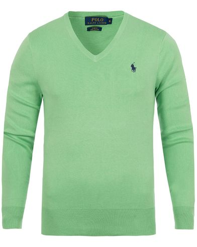 Polo Ralph Lauren Pima Cotton V-Neck Garrick Green i gruppen Gensere / Pullover / Pullovers v-hals hos Care of Carl (12685511r)