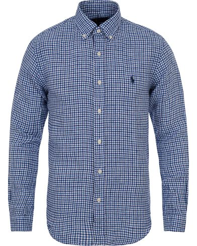 Polo Ralph Lauren Slim Fit Linen Check Shirt Navy/White i gruppen Kläder / Skjortor / Linneskjortor hos Care of Carl (12686011r)