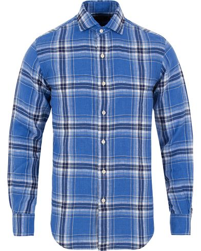 Polo Ralph Lauren Core Fit Linen Check Shirt Blue Seal i gruppen Skjorter / Linskjorter hos Care of Carl (12686411r)