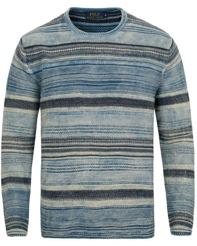 Polo Ralph Lauren Knitted Cotton Crew Neck Indigo Stripe i gruppen Tröjor / Stickade tröjor hos Care of Carl (12688611r)