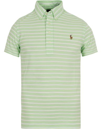 Polo Ralph Lauren Oxford Knit Stripe Polo Lime/White i gruppen Klær / Pikéer / Kortermet piké hos Care of Carl (12689511r)