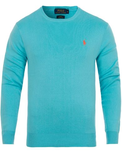 Polo Ralph Lauren Pima Cotton Crew Neck Cayman Blue i gruppen Kläder / Tröjor / Pullovers / Rundhalsade pullovers hos Care of Carl (12690411r)