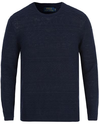 Polo Ralph Lauren Knitted Linen Crew Neck Navy i gruppen Gensere / Strikkede gensere hos Care of Carl (12692711r)