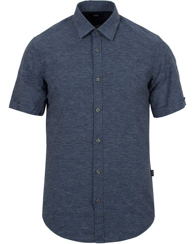BOSS Ronn Slim Fit Shirt Blue Melange i gruppen Skjortor / Kortärmade skjortor hos Care of Carl (12696111r)