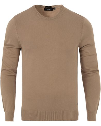 BOSS Fabello Knitted Crew Neck Beige i gruppen Gensere / Pullover / Pullover rund hals hos Care of Carl (12696611r)