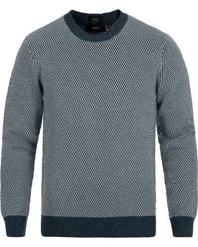 BOSS Heldo Knitted Crew Neck Orion Blue i gruppen Design A / Gensere / Strikkede gensere hos Care of Carl (12696711r)