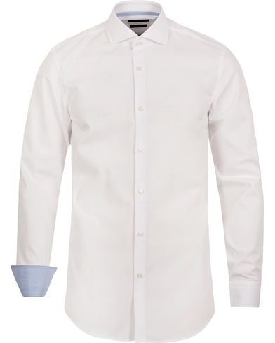 BOSS Jery Slim Fit Contrast Shirt White i gruppen Skjorter / Formelle skjorter hos Care of Carl (12698511r)