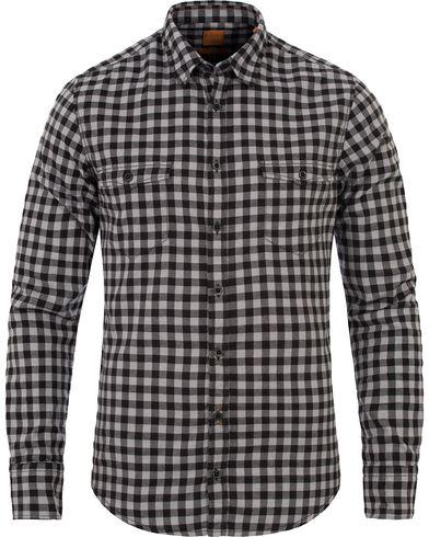 BOSS Orange Edo Slim Fit Flannel Pocket Check Shirt Black i gruppen Skjortor / Flanellskjortor hos Care of Carl (12699511r)
