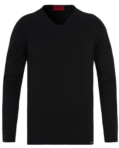 HUGO Scoop Roll Edge Sweater Black i gruppen Tröjor / Stickade tröjor hos Care of Carl (12700611r)