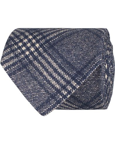 Oscar Jacobson Check Tie 8,5 cm Blue  i gruppen Assesoarer / Slips hos Care of Carl (12701810)