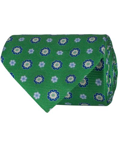 Oscar Jacobson Printed Medallion 8,5 cm Tie Green  i gruppen Assesoarer / Slips hos Care of Carl (12702210)