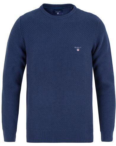 Gant Knitted Texture Crew Neck Indigo Blue i gruppen Kläder / Tröjor / Stickade tröjor hos Care of Carl (12705411r)