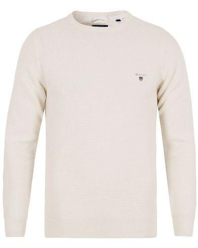 Gant Knitted Texture Crew Neck Cloud White i gruppen Tröjor / Stickade tröjor hos Care of Carl (12705511r)