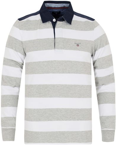 GANT Striped Heavy Rugger Grey Melange i gruppen Kläder / Tröjor / Rugbytröjor hos Care of Carl (12705611r)