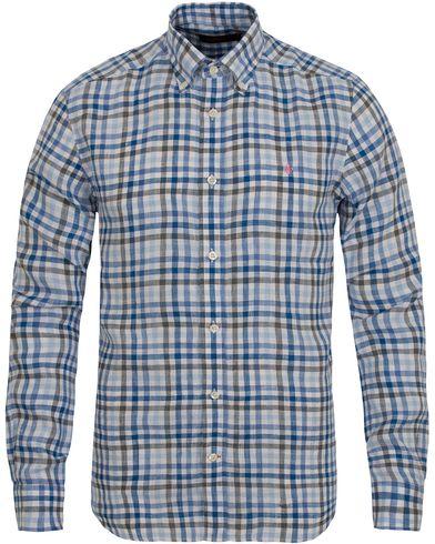 Morris Douglas Linen Check Shirt Blue i gruppen Kläder / Skjortor / Linneskjortor hos Care of Carl (12708911r)