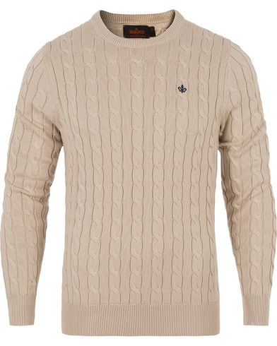 Morris Pima Cotton Cable Khaki i gruppen Gensere / Strikkede gensere hos Care of Carl (12709011r)