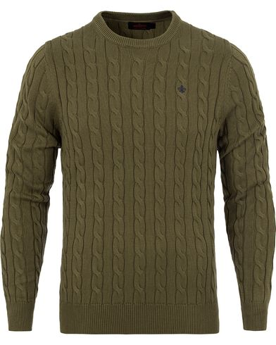 Morris Pima Cotton Cable Olive Green i gruppen Design A / Gensere / Strikkede gensere hos Care of Carl (12709211r)