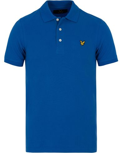 Lyle & Scott Plain Pique Polo Shirt Lake Blue i gruppen Kläder / Pikéer / Kortärmade pikéer hos Care of Carl (12712611r)