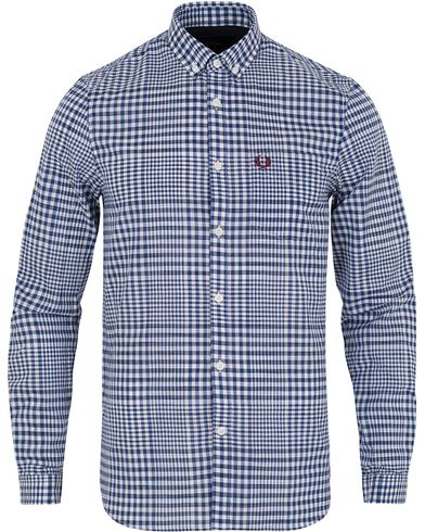 Fred Perry Distorted Gingham Shirt French Navy i gruppen Skjortor / Casual Skjortor hos Care of Carl (12713511r)