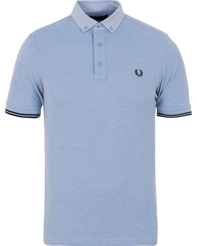 Fred Perry Woven Pique Shirt Light Smoke Oxford i gruppen Pikéer / Kortermet piké hos Care of Carl (12713611r)