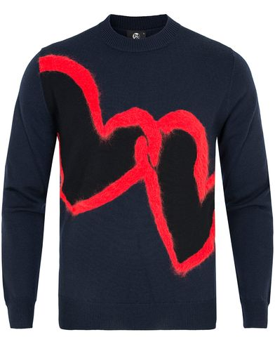 PS by Paul Smith Heart Wool Sweater Navy i gruppen Klær / Gensere / Strikkede gensere hos Care of Carl (12726711r)