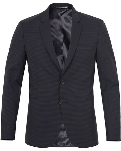 PS by Paul Smith Micro Check Slim Fit Blazer Navy i gruppen Design A / Dressjakker / Enkeltspente dressjakker hos Care of Carl (12728111r)
