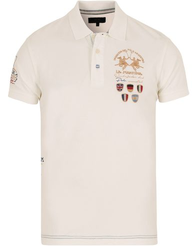 La Martina Logo Polo Piqu� Off White i gruppen Pik�er / Kortermet Pik� hos Care of Carl (12733111r)