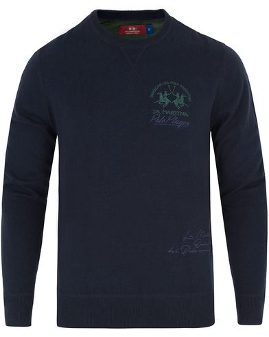 La Martina Logo Cotton Cashmere Sweater Navy i gruppen Gensere / Strikkede gensere hos Care of Carl (12733411r)