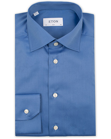 Eton Slim Fit Cut Away Shirt Napoli Blue i gruppen Skjorter / Formelle skjorter hos Care of Carl (12740711r)