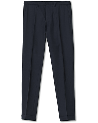 BOSS Wave Slim Fit Wool Trousers Dark Blue i gruppen Byxor / Kostymbyxor hos Care of Carl (12743111r)