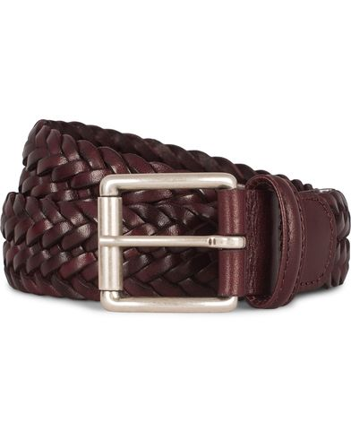 Anderson's Braided Leather 3,5 cm Belt Burgundy Red i gruppen Design A / Assesoarer / Belter / Flettede belter hos Care of Carl (12746411r)