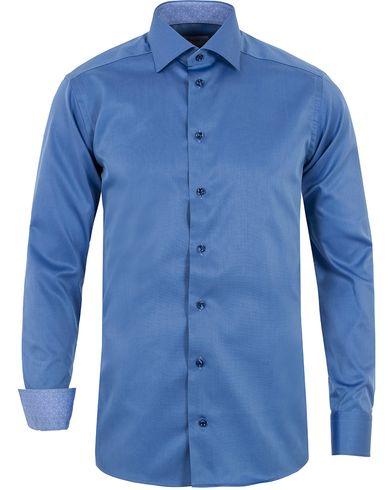 Eton Slim Fit Contrast Polka Dot Twill Shirt Blue i gruppen Skjortor / Formella skjortor hos Care of Carl (12758411r)