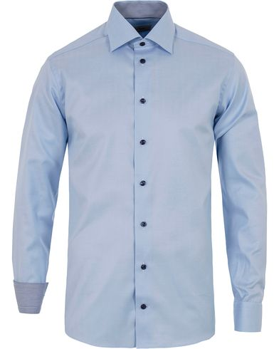 Eton Slim Fit Contrast Striped Herringbone Shirt Blue i gruppen Skjorter / Formelle skjorter hos Care of Carl (12758511r)