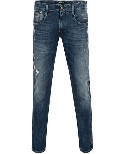 Replay M914 Anbass Jeans Hole Light Blue i gruppen Jeans / Avsmalnande jeans hos Care of Carl (13000211r)