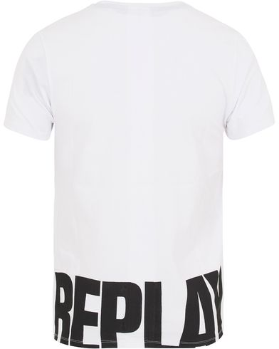 Replay M3043 Logo Crew Neck Tee White i gruppen Kläder / T-Shirts / Kortärmade t-shirts hos Care of Carl (13001811r)