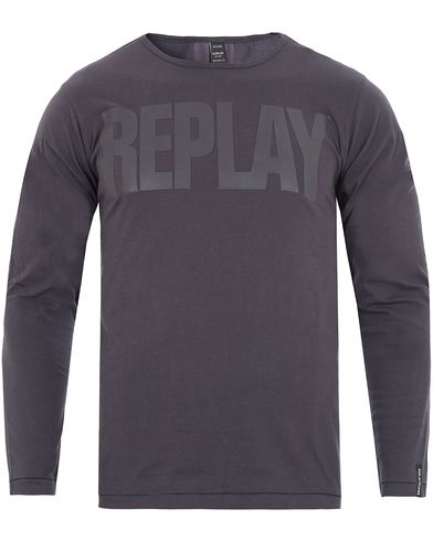 Replay M3038 Long Sleeve Logo Tee Blue/Black i gruppen T-Shirts / Langermede t-shirts hos Care of Carl (13002011r)